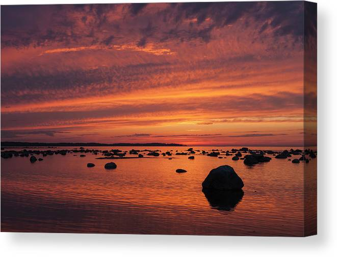 Tranquility Canvas Print featuring the photograph Dramatic Sunset Light by Franz Aberham