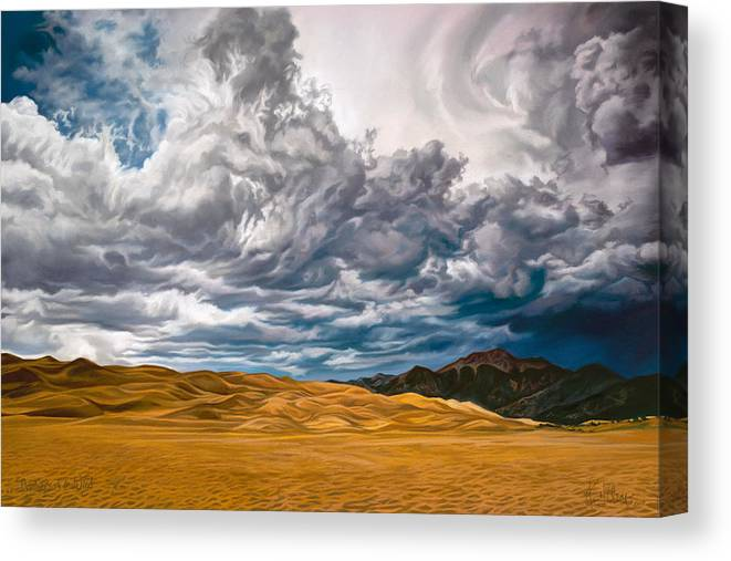 Horses In Clouds Canvas Print featuring the pastel Drinkers of the Wind by Kim McElroy