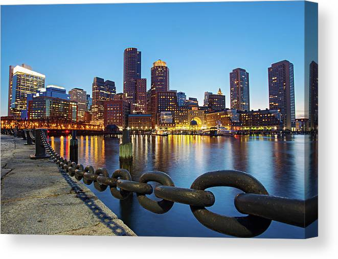 Clear Sky Canvas Print featuring the photograph Dusk In Boston by Photography By Nick Burwell