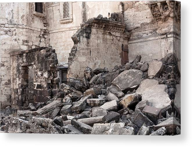 Rubble Canvas Print featuring the photograph Earthquake Damage From Bhuj, India by Traveler1116