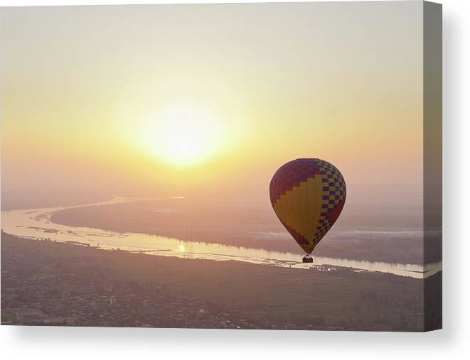 Luxor Canvas Print featuring the photograph Egypt, View Of Hot Air Balloon Over by Westend61