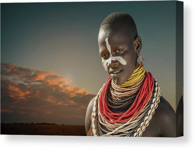 People Canvas Print featuring the photograph Ethiopia, Omo Valley, Karo Woman by Buena Vista Images