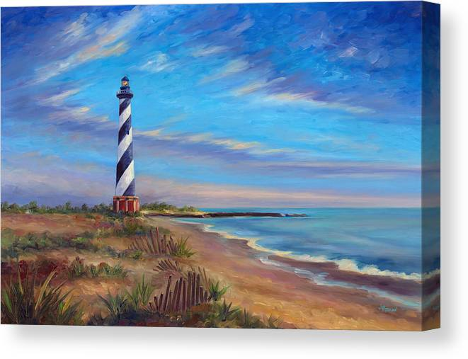 Hatteras Canvas Print featuring the painting Evening at Cape Hatteras by Jeff Pittman