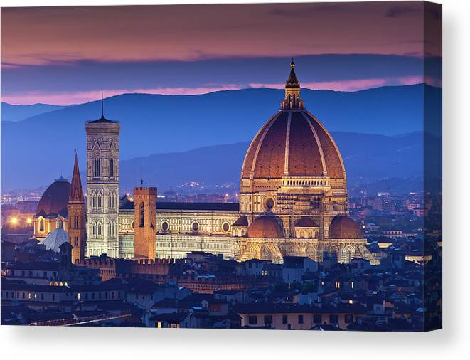 Built Structure Canvas Print featuring the photograph Florence Catherdral Duomo And City From by Richard I'anson