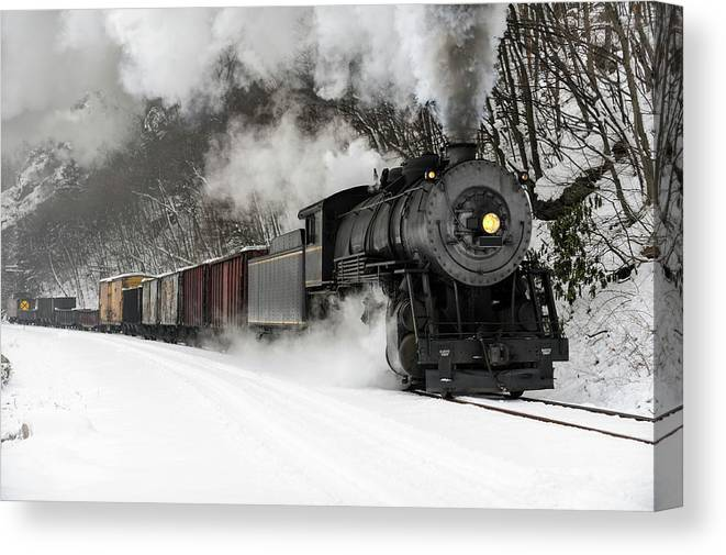 Scenics Canvas Print featuring the photograph Freight Train With Steam Locomotive by Catnap72