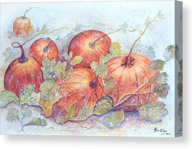 Pumpkin Patch Canvas Print featuring the painting Frost on the Pumpkin by Ben Kiger