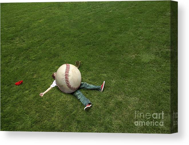 Baseball Canvas Print featuring the photograph Giant Baseball by Diane Diederich