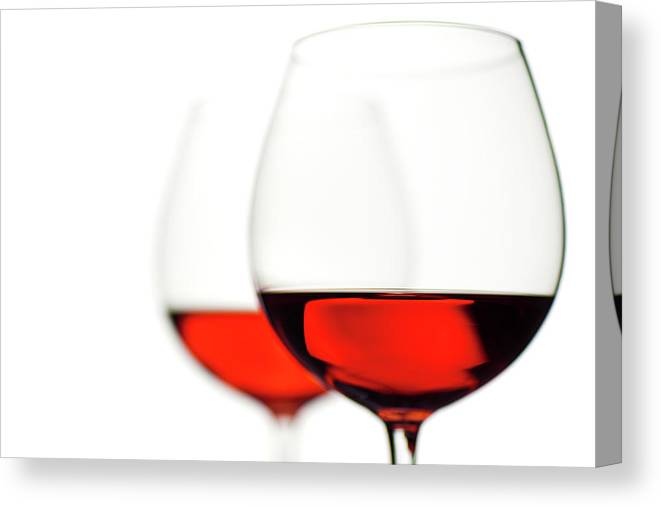 White Background Canvas Print featuring the photograph Glasses Of Wine by Ineskoleva