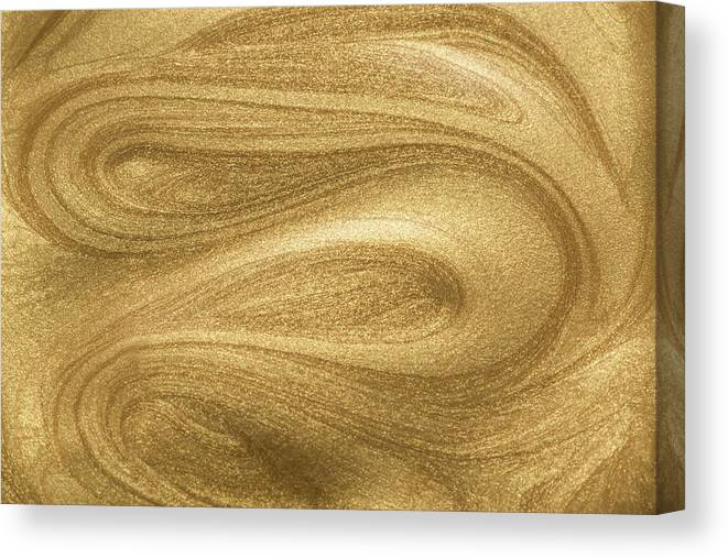 Curve Canvas Print featuring the photograph Glittering Gold Paint by Miragec