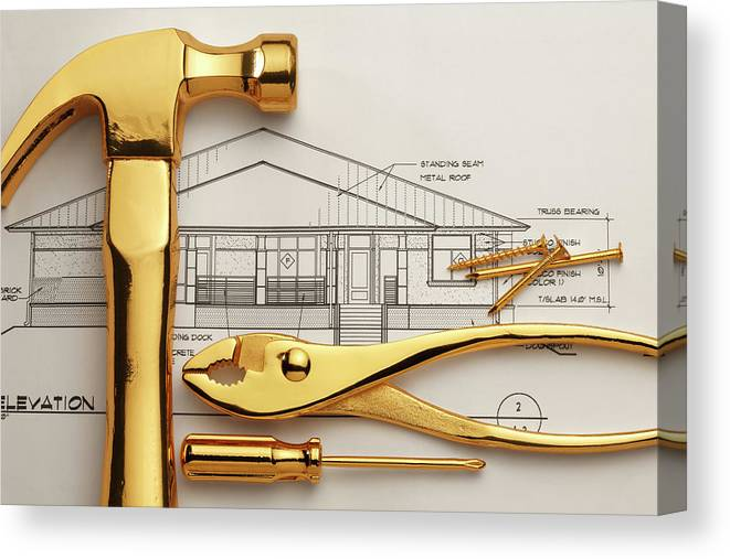 Plan Canvas Print featuring the photograph Gold Plated Tools And Blueprints by Dny59