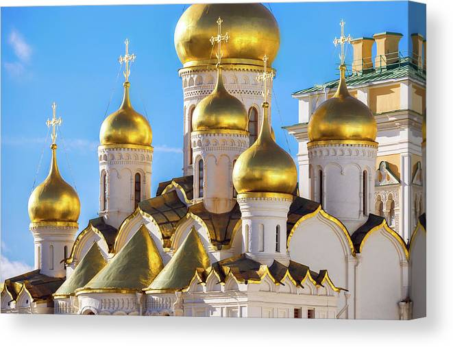 Annunciation Canvas Print featuring the photograph Golden Domes Of The Russian Church by Mordolff