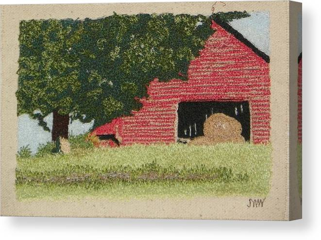 Fiber Canvas Print featuring the mixed media Hay Barn by Jenny Williams