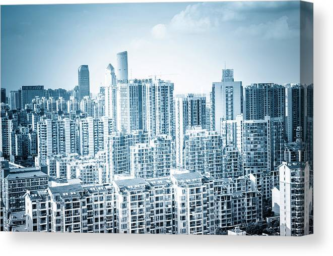 Residential District Canvas Print featuring the photograph High Rise Residential Area by Aaaaimages