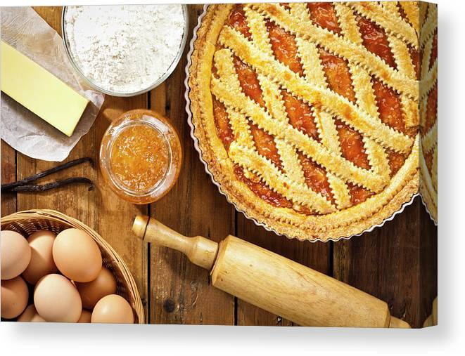 Breakfast Canvas Print featuring the photograph Homemade Italian Crostata With by Fcafotodigital