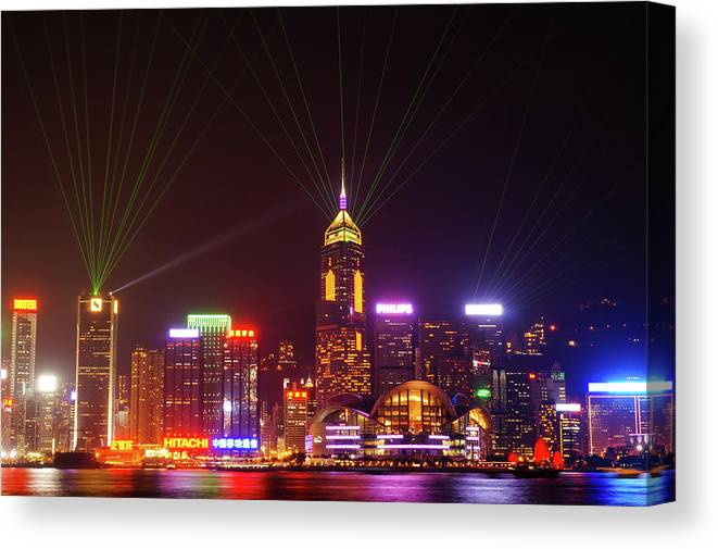 Laser Canvas Print featuring the photograph Hongkong A Symphony Of Lights by @hapidayss