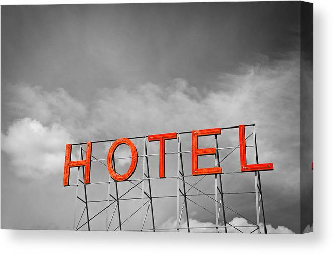 Sign Canvas Print featuring the photograph Hotel Sign by Todd Hartzo