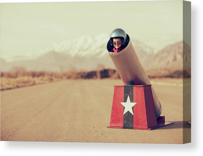 4-5 Years Canvas Print featuring the photograph Human Cannonball by Richvintage