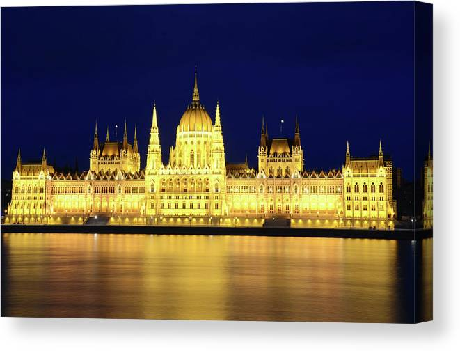 Hungarian Parliament Building Canvas Print featuring the photograph Hungarian Parliament Building, Budapest by Dragos Cosmin Photos