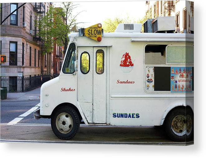 Retail Canvas Print featuring the photograph Icecream Truck On City Street by Jason Todd