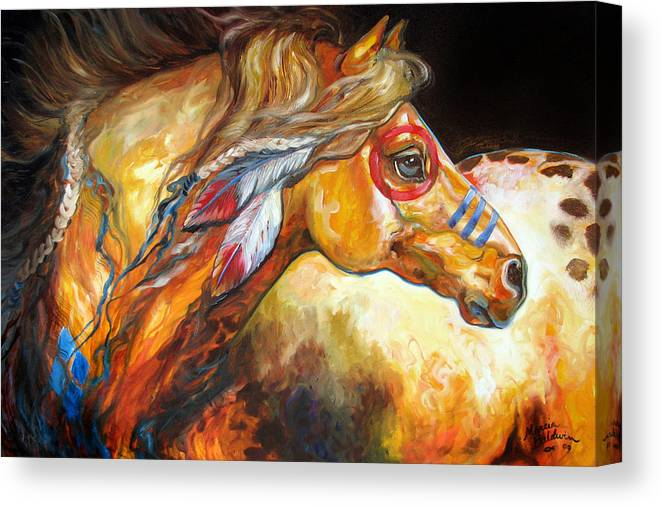 Horse Canvas Print featuring the painting Indian War Horse Golden Sun by Marcia Baldwin