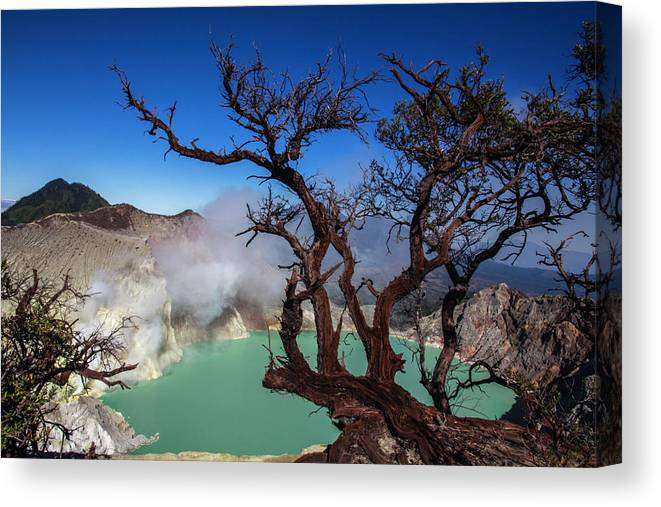 Crater Lake Canvas Print featuring the photograph Indonesia, Java, Kawah Ijen by Andreas Kunz