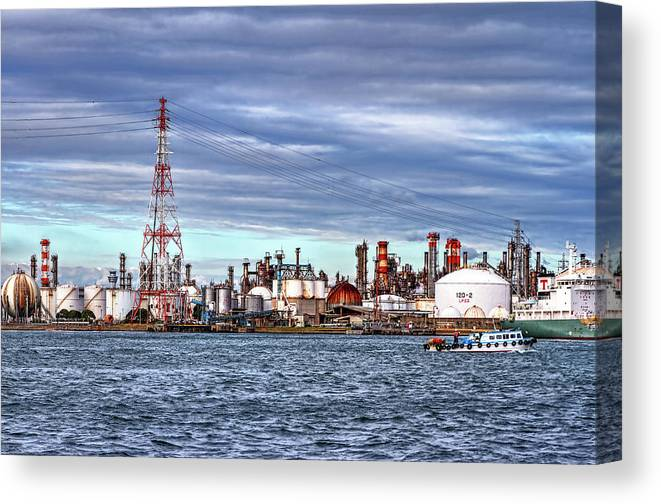 Manufacturing Equipment Canvas Print featuring the photograph Industrial View by Uemii
