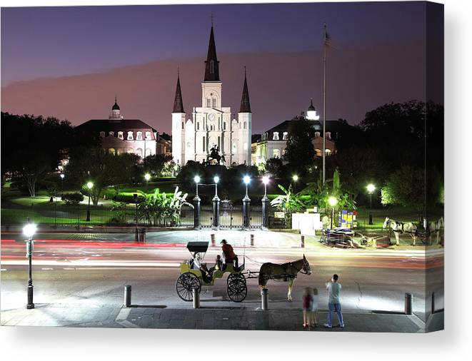 Southern Usa Canvas Print featuring the photograph Jackson Square by Denistangneyjr
