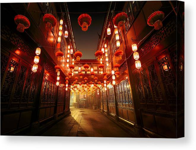 Chinese Culture Canvas Print featuring the photograph Jinli Street, Chengdu, Sichuan, China by Kiszon Pascal