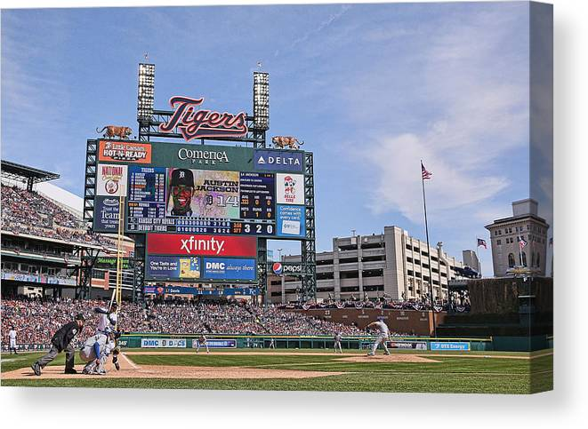 American League Baseball Canvas Print featuring the photograph Kansas City Royals V Detroit Tigers by Leon Halip