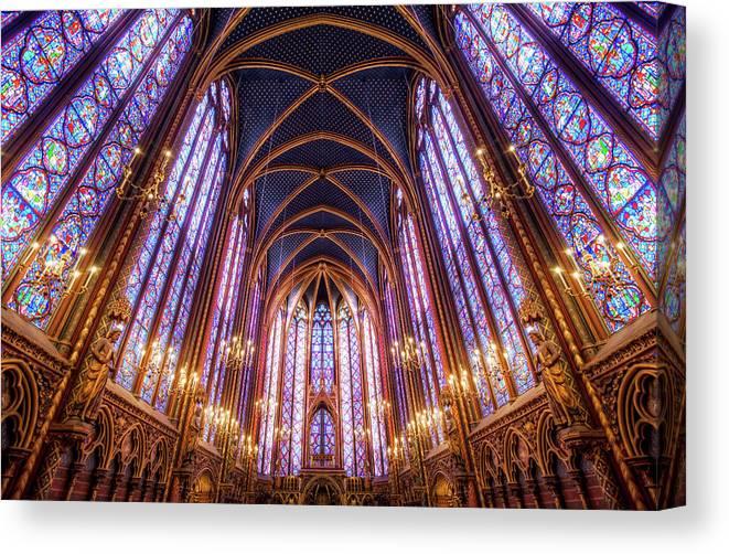 Arch Canvas Print featuring the photograph La Sainte-chapelle Upper Chapel, Paris by Joe Daniel Price
