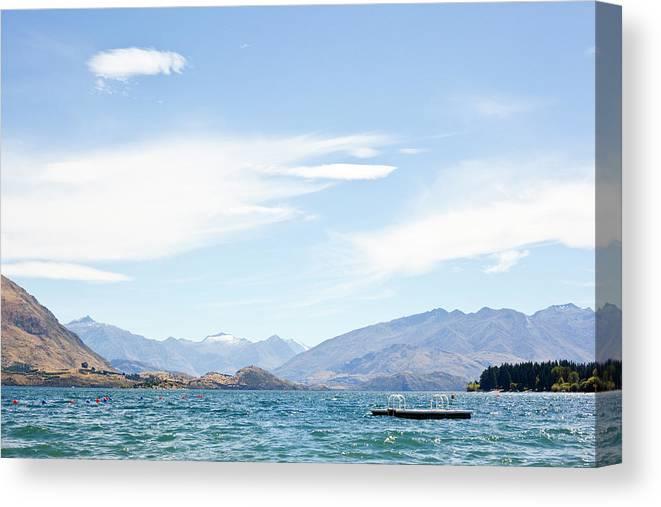 Scenics Canvas Print featuring the photograph Lake Wanaka Diving Platform by Phillip Suddick