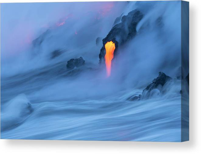 Cool Attitude Canvas Print featuring the photograph Lava Ocean Entry by Justinreznick