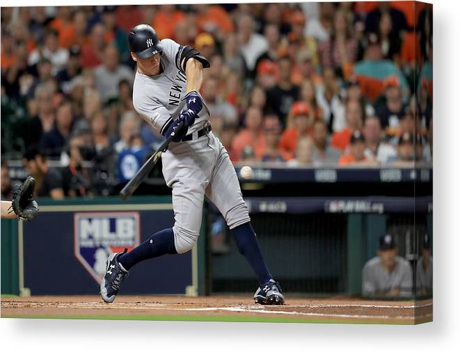 Championship Canvas Print featuring the photograph League Championship Series - New York Yankees v Houston Astros - Game Seven by Ronald Martinez