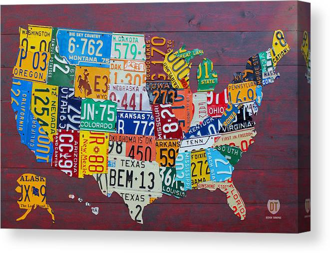 Art Canvas Print featuring the mixed media License Plate Map of The United States by Design Turnpike