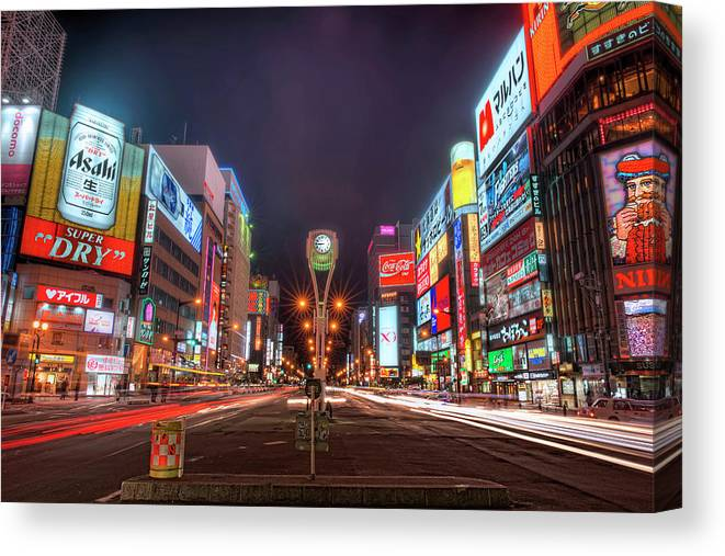 Hokkaido Canvas Print featuring the photograph Light Trails In Susukino by Daniel Chui