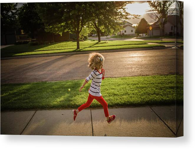 4-5 Years Canvas Print featuring the photograph Little Girl Running by Annie Otzen