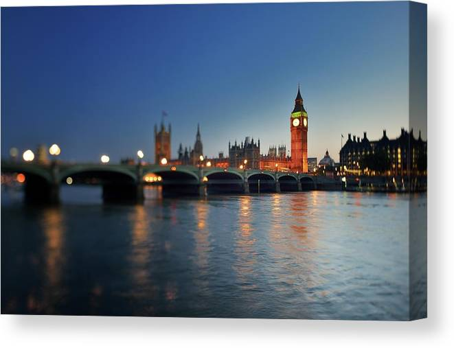 Tranquility Canvas Print featuring the photograph London, Palace Of Westminster At Sunset by Vladimir Zakharov