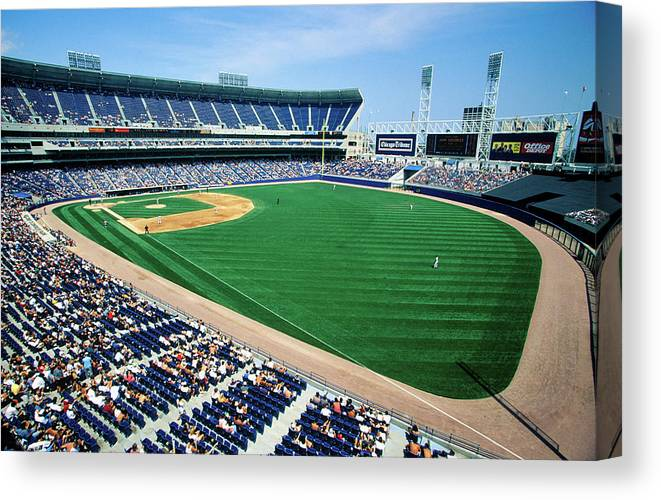 Long view of Baseball diamond and bleachers during professional Baseball Game Comiskey Park Illinois Poster Print by Panoramic Images 24 x 18