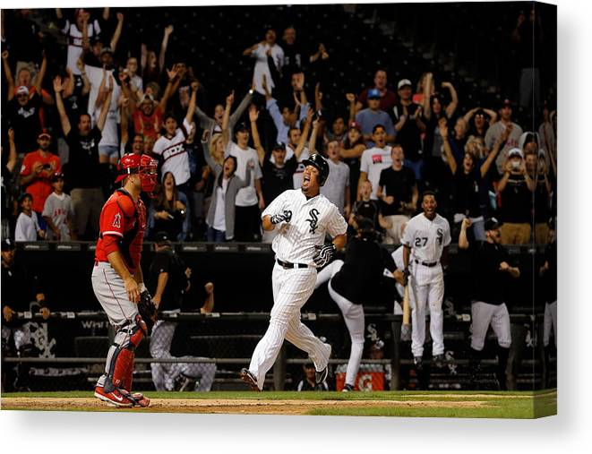 People Canvas Print featuring the photograph Los Angeles Angels Of Anaheim V Chicago by Jon Durr
