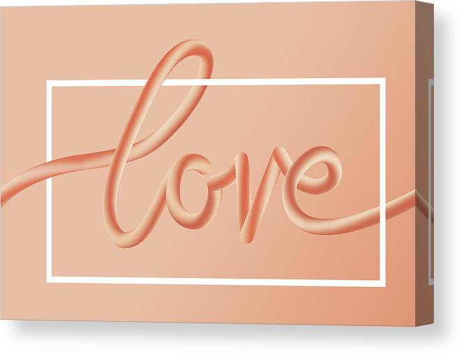 Home Decor Canvas Print featuring the digital art Love Text Lettering In Red Color by Apagafonova
