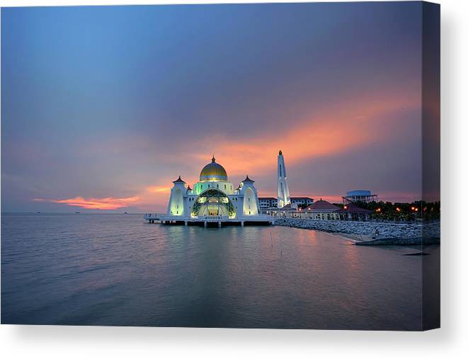 Mosque Canvas Print featuring the photograph Malaysia - The Straits Mosque, Malacca by By Toonman