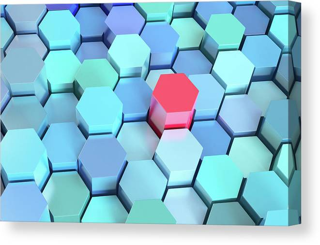 Grid Canvas Print featuring the photograph Many Blue Hexagons, Various Heights by Dimitri Otis