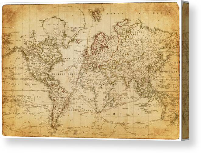 Globe Canvas Print featuring the digital art Map Of The World 1800 by Thepalmer
