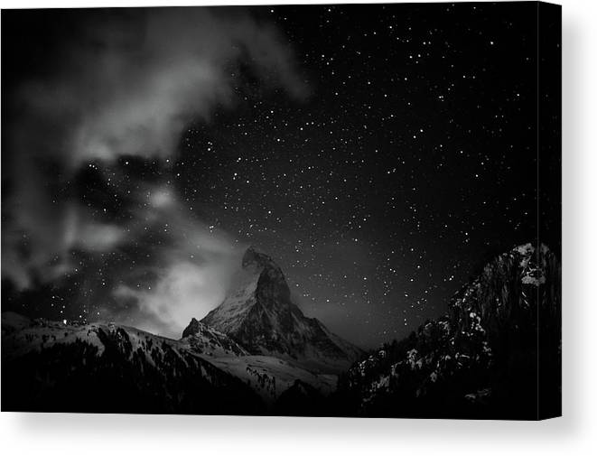 Matterhorn With Stars In Black And White Canvas Print Canvas Art By Coolbiere Photograph