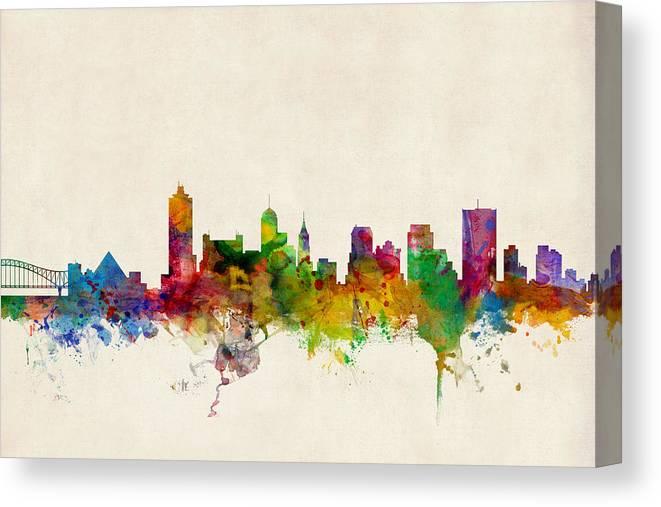 Watercolour Canvas Print featuring the digital art Memphis Tennessee Skyline by Michael Tompsett