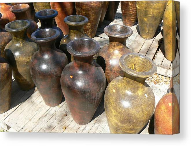 Pots Canvas Print featuring the photograph Mexican Pots II by Scott Alcorn