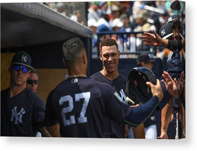 People Canvas Print featuring the photograph Miami Marlins v New York Yankees by Mark Brown