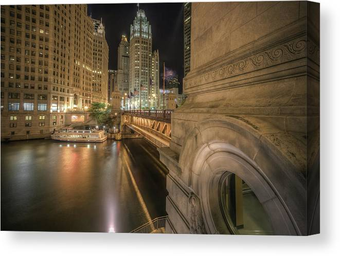 Chicago River Canvas Print featuring the photograph Michigan Ave by Delobbo.com