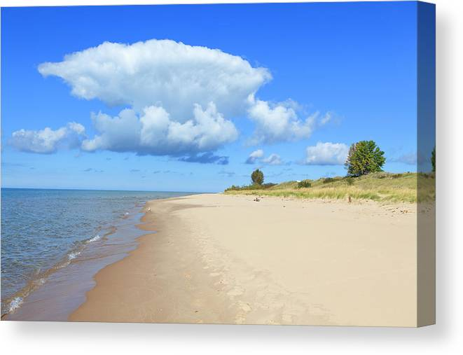 Lake Michigan Canvas Print featuring the photograph Michigan Lake Shore by Espiegle