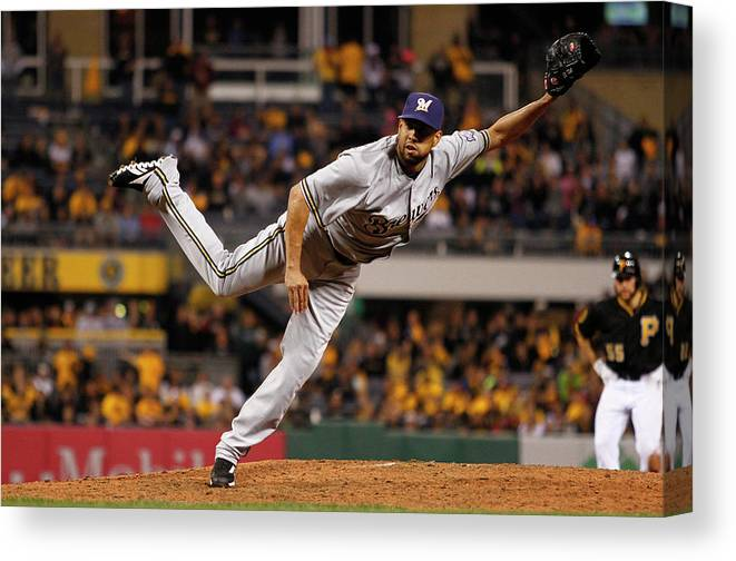 Ninth Inning Canvas Print featuring the photograph Milwaukee Brewers V Pittsburgh Pirates by Justin K. Aller